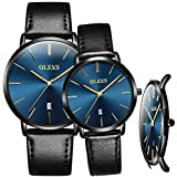 OLEVS Couples Watches for Men and Women Ultra Thin Quartz Analog Women's and Men's Wrist Watches - Casual Stainless Steel His and Hers Wristwatch for Men Women Lovers Wedding Romantic Gifts Set of 2
