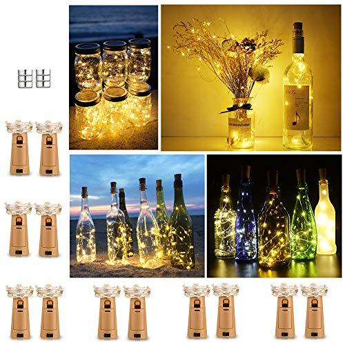 Luz de Botella (12 Pack), 2m 20 LED Lámparas de Botellas con Alambre de Cobre, LED Corcho Micro Luces para Boda,Navidad,Fiesta,Hogar,Exterior, Jardín,Blanco Cálido[Clase de eficiencia energética A+++]
