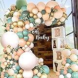 【129 pcs balloons arch kit including】30pcs olive green balloons (10 inch ), 30pcs peach balloons (10 inch), 10pcs orange balloons (10 inch), 10pcs gold balloons (10 inch), 20pcs olive green balloons (5 inch ), 20pcs peach balloons (5 inch), 5pcs gold...