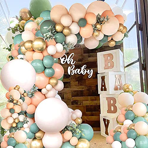 Olive Green Balloon Arch Kit 129pcs Balloon Garland Kit Olive Green Peach Orange Golden Latex Balloons Garland Baby Shower Birthday Party