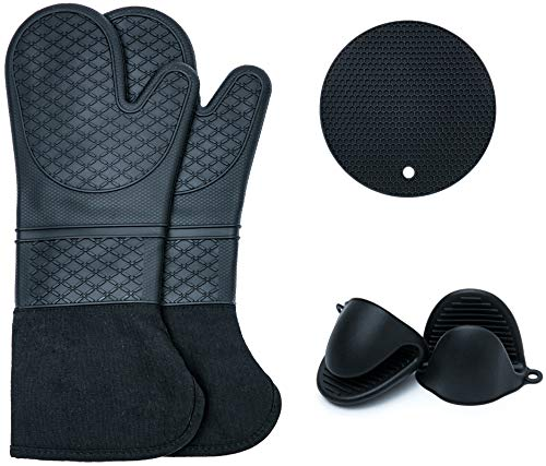 Silicone Oven Mitts and Pot Holders Set - Heat Resistant Oven Mittens - Mini Pinch Oven Gloves and Hot Pads Potholders for Kitchen Baking Cooking BBQ Black
