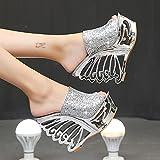 DZQQ Zapatos de Boda con Forma de Personalidad de Plata Dorada y Pendiente de tacón Alto Sexis, Zapatos de Novia, Sandalias de 15 cm, Zapatillas