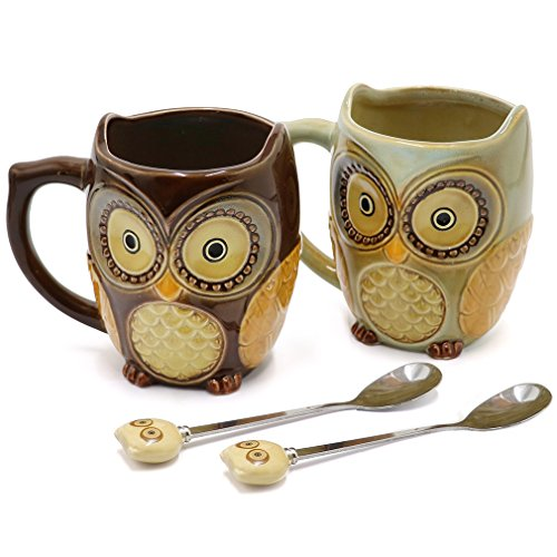 SQOWL 3D Coffee Mug Cute Set of 2 Owl Ceramic Coffee Mugs with spoons Office Tea Cups for Women Men 12 oz Cyan and Brown