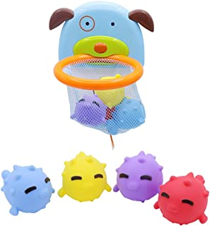 yeesport Bathtub Basketball Hoop Set Cartoon Bath Toy Bath Squirter Toy with Suction Cup Bath Basketball Hoop for Toddlers...