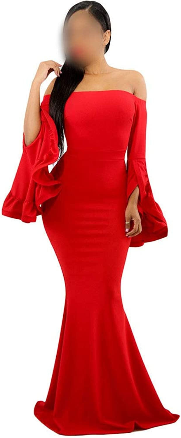 Carriemeow Women's Sexy Off Shoulder Long Bell Sleeve Bodycon Dress Long Maxi Dress Casual Skirt (color   Red, Size   M)