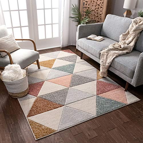 Well Woven Suave Angles Dusty Pink Red Copper Blue Grey Modern Geometric Hand Carved 5x7 (5'3' x 7'3') Area Rug Easy to Clean Stain & Fade Resistant Thick Soft Plush