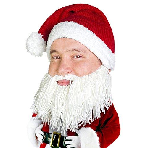 Beard Head Knitted Santa Beard Hat with Funny Christmas Beard Costume