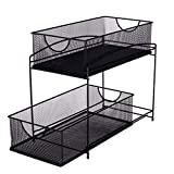 IBERG 2 Tier Mesh Cabinet Basket - Sliding Drawer Organizer - Under Sink Organizer for Kitchen Bathroom Office (Black)