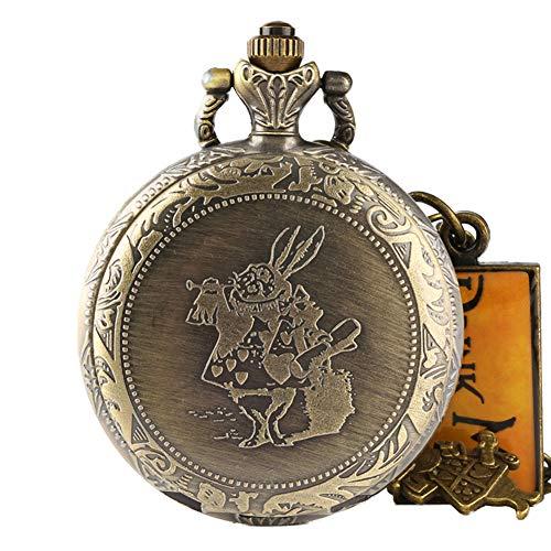 Taschenuhr, romantische Bronze-Taschenuhr, Alice im Wunderland, niedliche Uhr, Geschenke für Männer