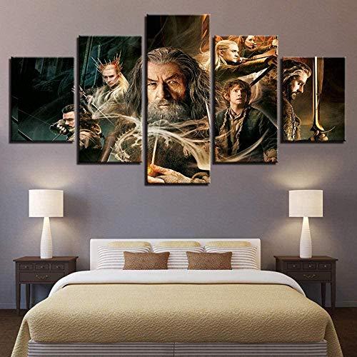 wodclockyui 5 Piezas Cuadro de Lienzo - Nuevo Hobbit Nórdico Pintura 5 Impresiones de imágenes Decoración de Pared para el hogar Pinturas y Carteles de Arte HD 200cmx100cm Sin Marco