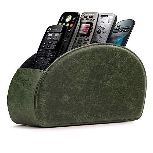 Londo soporte para mandos a distancia con 5 espacios - Organiza mandos de DVD, Blu-Ray, TV, Roku o Apple TV - Cuero - Delgado y compacto