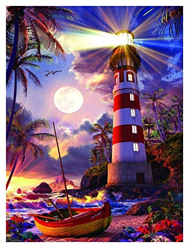 ZGPTOP Rompecabezas Pretty Lighthouse Moon Juego para Adultos Adultos niños Entretenimiento jigsa de Madera Rompecabezas 300/500/1000/1500 Piezas (Size : 300P)
