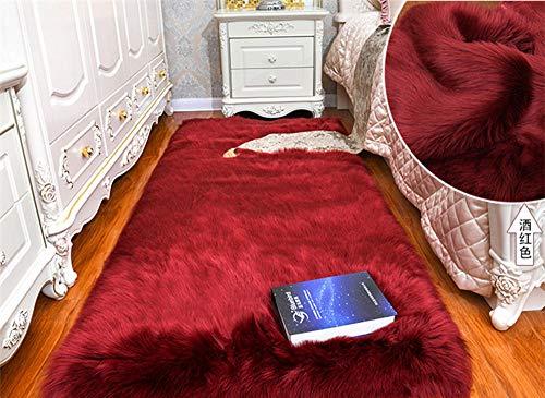 Charm4you Contorneada Rayas Alfombra Dormitorio,Alfombra de Lana de imitación Alfombra de Piso Dormitorio Junto a la Cama-Wine Red_60 * 120cm,Lavable Tejidas Shaggy