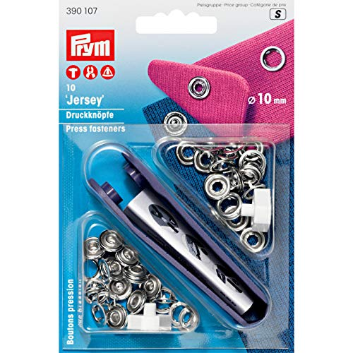 Prym Non-sew Press Fasteners Jersey Brass pronged Ring Silver col 10 mm