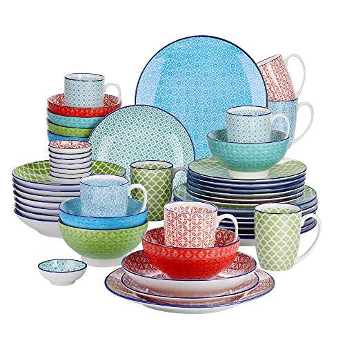 vancasso Serie Macaron Vajillas 48 Piezas Vajillas Porcelana Colores 4 Diseños de...