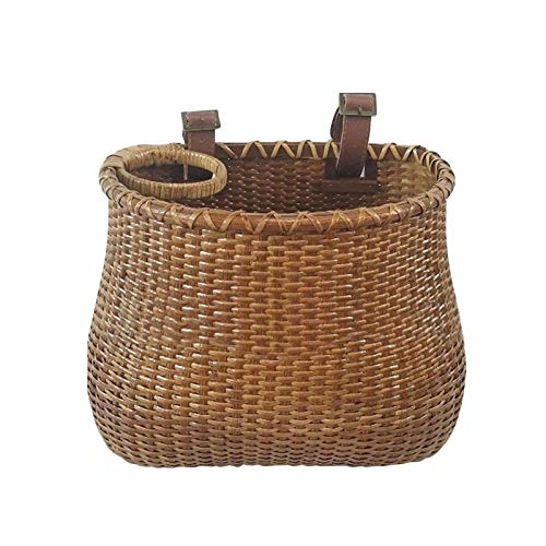 Wicker Bike Basket,Front Handlebar Basket for Bicycle,Handmade Woven Front Bicycle Baskets, Handle Rattan Bicycle Baskets with Brown Leather Straps Buckle,Bicycle Accessory for Kids and Adult