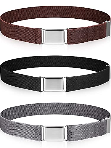 3 Pieces Kids Toddler Elastic Magnetic Belt Adjustable Buckle Stretch Belts with Silver Square Buckle for Boys Girls