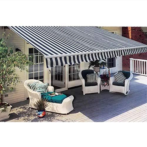 UBaymax Gelenkarmmarkise Sonnenmarkise, Motorisiert Aluminium Balkon Markise Klemmmarkise, Kassettenmarkise, Balkonmarkise, Sonnensegel (400 x 300 cm, Blau/Weiß)