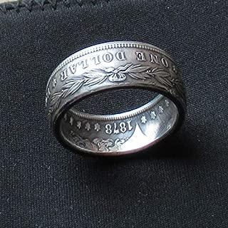 JOOLIXUACT Morgan Dollar Coin Ring 90% Silver Handcraft Rings Vintage Handmade from Morgan Silver Dollar 1878