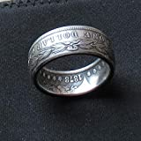 JOOLIXUACT Morgan Dollar Coin Ring 90% Silver Handcraft Rings Vintage Handmade from Morgan Silver Dollar 1878'Eagle Replica US Size 9-15#