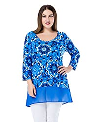 Chicwe Women's Floral Printed Plus Size Tunic Top with Chiffon Hem