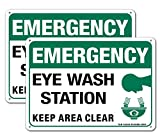 Emergency Sign, Eye Wash Station Sign, Keep Area Clear Sign, 2 Pack, 10' x 7' Rust Free .040 Aluminum, UV Protected, Waterproof, Weatherproof and Fade Resistant, 4 Pre-drilled Holes