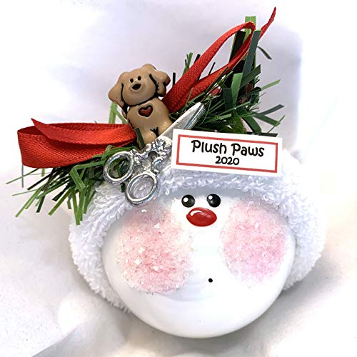 Dog Groomer Gift Christmas Glass Ornament Scissors Hand Painted Handmade Personalized W167 838 1338