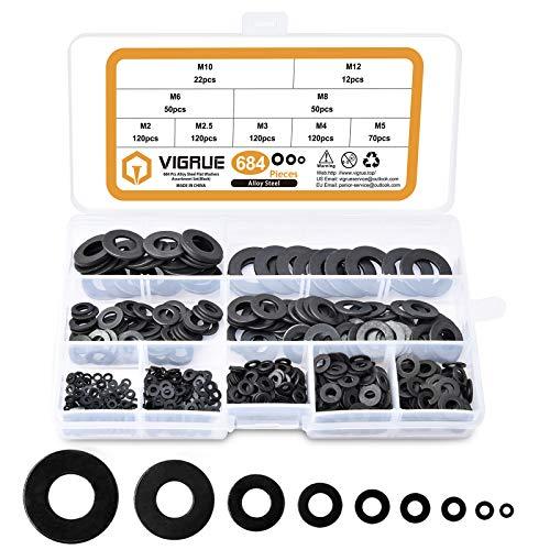 VIGRUE Assorted Flat Washers Set 684 Pieces -9 Sizes M2 M2.5 M3 M4 M5 M6 M8 M10 M12 Black Zinc Plated Alloy Steel Washers Hardware Assortment