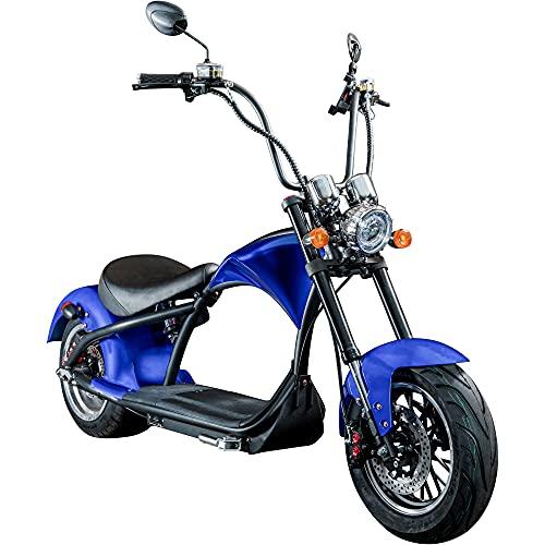 Chopper E-Mobil 45 km/h Elektro Roller E Scooter Straßenzulassung Elektroroller (blau)