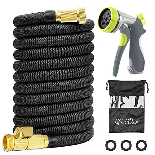 100FT Expandable Garden Hose, Lightweight Expanding Water Hose with Double Latex Core, 3/4 Solid Brass Connector and Extra Strength Fabric with 8 Zinc Function Nozzle