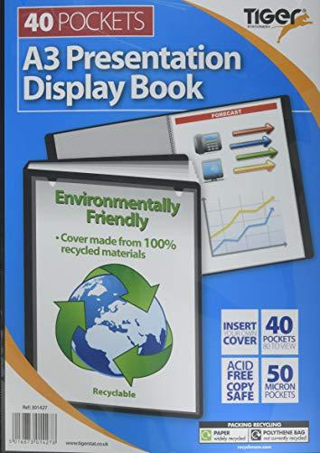 Tiger 301427 A3 Black Display Book 40 Pocket Presentation Folio
