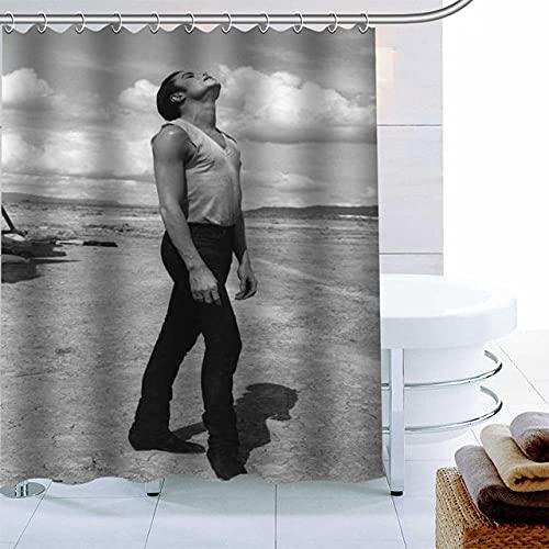 None brand Polyestergewebe benutzerdefinierte Michael Jackson-Duschvorhang moderner Badezimmervorhang wasserdicht mit Hakenbadvorhang-W180xh200cm