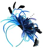 Diadema de color celeste y azul marino, con diseño de redecilla, plumas y aciano, estilo elegante