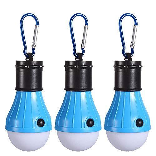 Campinglampe LED, BENEFREE Camping Lampen Camping Laterne Wasserdicht Leuchtmittel Lampe Zelt mit Karabiner für Camping, Abenteuer,Notlicht,Stromausfall oder Outdoor-Aktivitäten[3 Stück]
