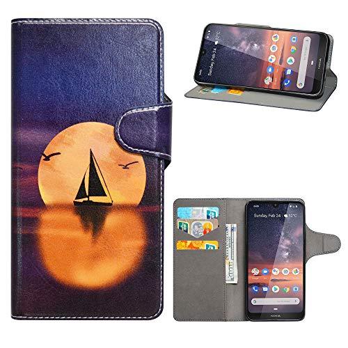 HHDY Cover Nokia 3.2 2019,Flip Wallet Case PU Pelle con Carte Slot Credito Portafoglio Supporto Stand Schema Custodia per Nokia 3.2 2019 Smartphone,Sailboats & Moon
