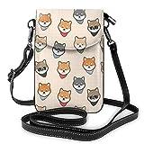 Shiba Inu - Bolso bandolera para teléfono celular, diseño de perro, con correa de hombro, bolso de mano de cuero