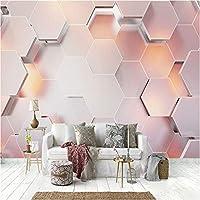 写真の壁紙3D立体空間カスタム大規模な壁紙の壁紙 ピンクの幾何学の壁の装飾リビングルームの寝室の壁紙の壁の壁画の壁紙テレビのソファの背景家の装飾壁画-280X200cm(110 x 78インチ)
