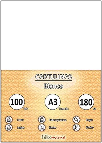 Pack 100 Cartulinas Tamaño A3 180g Blanco