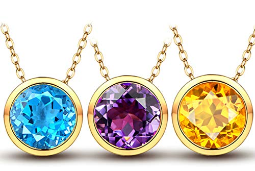 Aimsie Mujer Unisex 18 K oro amarillo 18 quilates (750) redondo azul Crystal