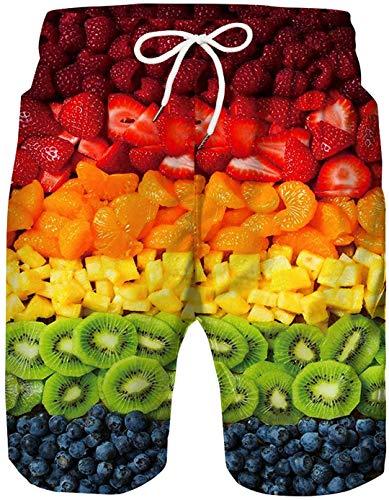 Verano para Hombre Pantalones Cortos de Playa con Estampado 3D Traje de baño Pantalones Cortos de Playa Hawaianos Fruits M