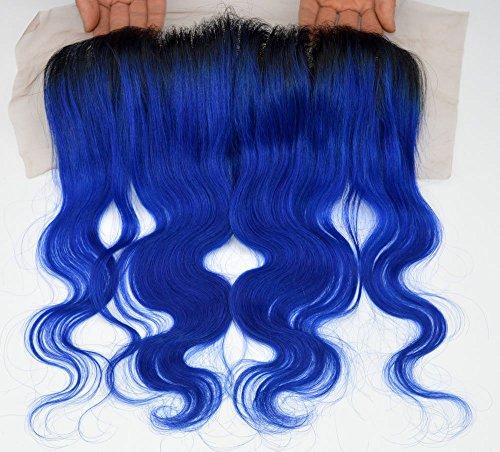 Longueur : 20,3 cm, 25,4 cm, 30,5 cm, 35,6 cm, 40,6 cm, 45,7 cm, 50,8 cm, 100 % cheveux humains brésiliens, fermeture frontale d'une oreille à l'autre, couleur 1B/bleu, ondulé (dentelle 33 x 10 cm)