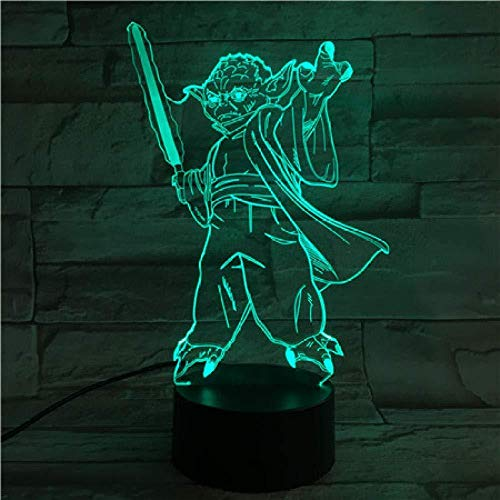 Boutiquespace Lámpara LED de ilusión 3D con luz nocturna de Star Wars Master Yoda, lámpara de mesa luminaria con interruptor táctil decorativo, estado de ánimo, gran regalo para niños