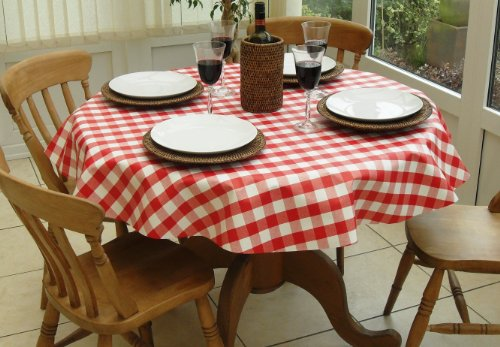 55' ROUND PVC/VINYL TABLECLOTH - RED GINGHAM