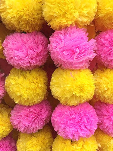 DECORATION CRAFT Pack of 5 Artificial Yellow and Pink Marigold Flower Garlands 5 Feet Long, for Parties, Indian Weddings, Indian Theme Decorations, Home Decoration, Photo Prop, Diwali, Indian Festival