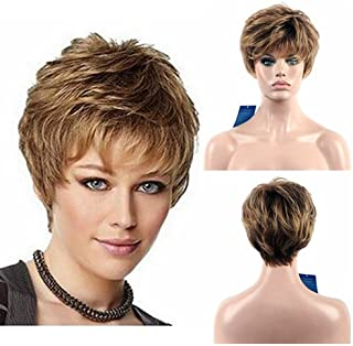 Diy-Wig Mixed Blonde Pixie Wigs for Women Short Fluffy Natural Looking Synthetic Heat Resistance 9 Inches