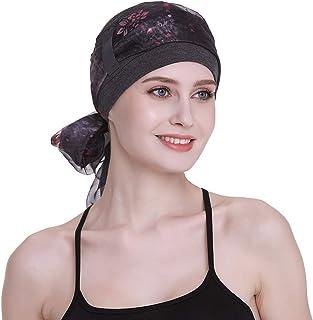 قبعة كيمو أنيقة مع أوشحة حريرية للنساء ضد السرطان قبعة النوم