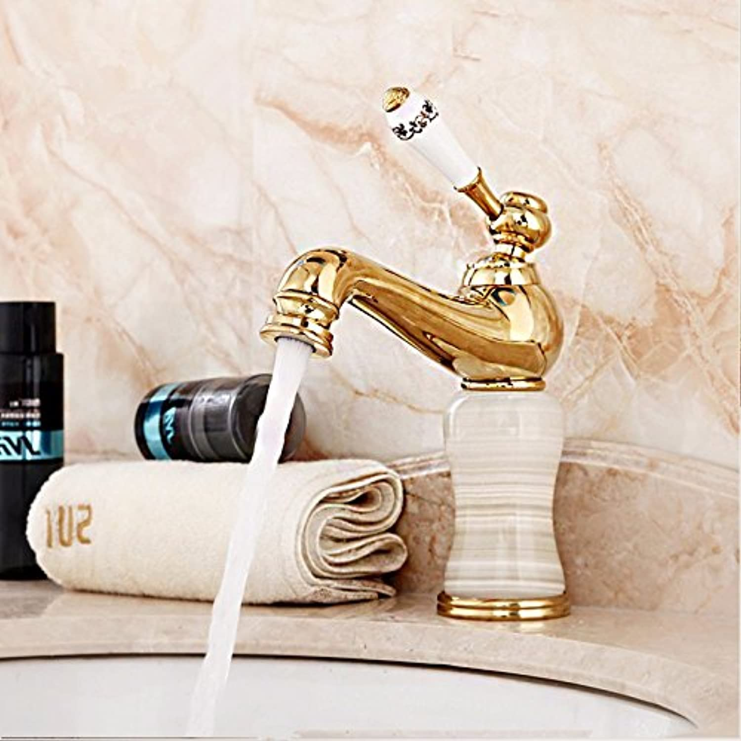 LaLF European Style Copper bluee and White Porcelain Basin Faucet Bathroom Faucet Hot and Cold Short Faucet