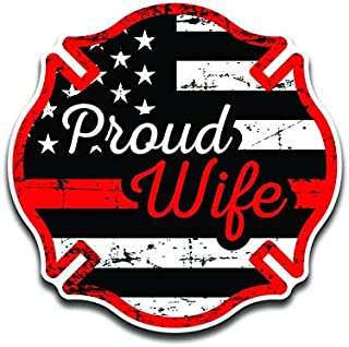DHDM Designs 2-Pack Proud Firefighter Crest Wife Thin Red Line Flag | Premium Quality Vinyl Decal Stickers | 5.5-Inch Laminated with UV Protective Laminate | PD2969
