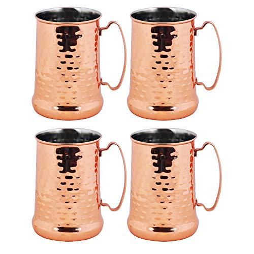 Kosma Set de 4 tazas de cerveza de acero inoxidable | Acabado martillado y cobre Tankard | Taza Mule de Moscú- 700ml.