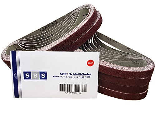 SBS Schleifbänder | 13 x 451mm | 96 Stück | Mix Pack | 16 Stück je Korn P40/60/80/120/180/240
